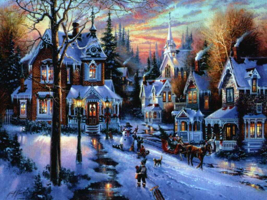 free-christmas-village-full-of-castles-wallpaper1