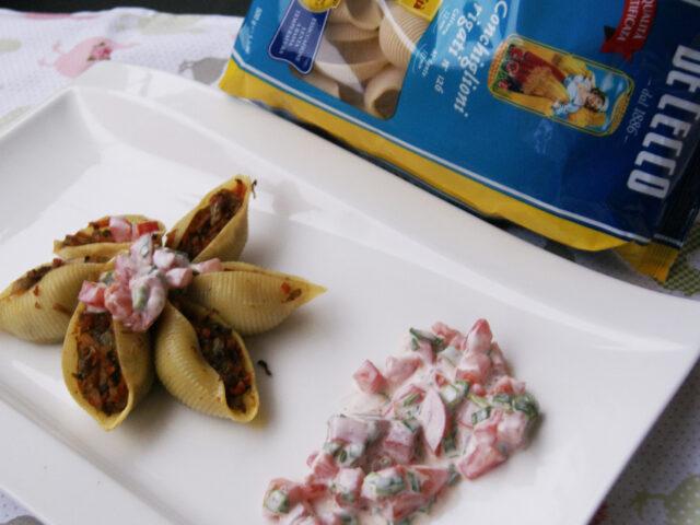 Makaronowe muszelki z pieczarkami